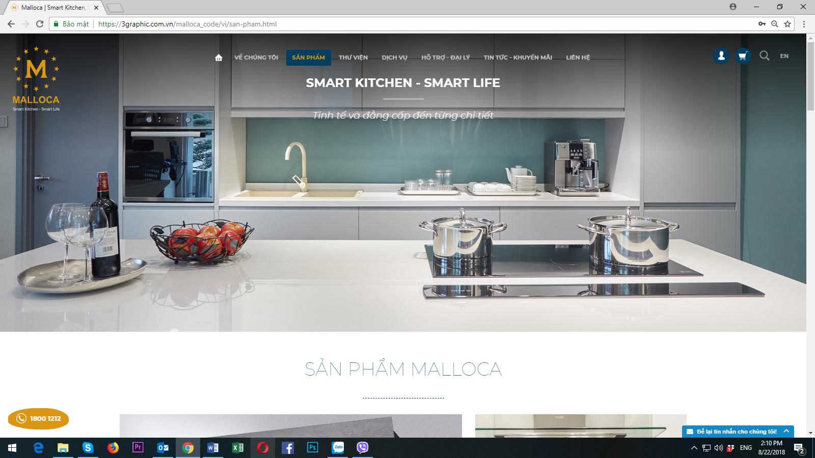 Thiết bị nhà bếp cao cấp Malloca ra mắt giao diện website mới