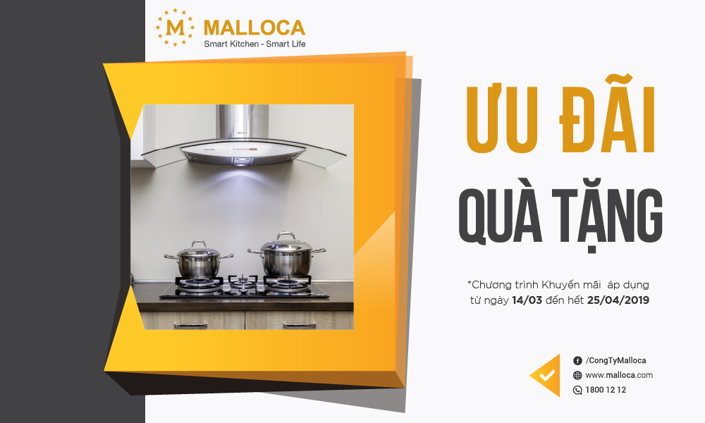 Ưu đãi quà tặng khi mua thiết bị bếp Malloca