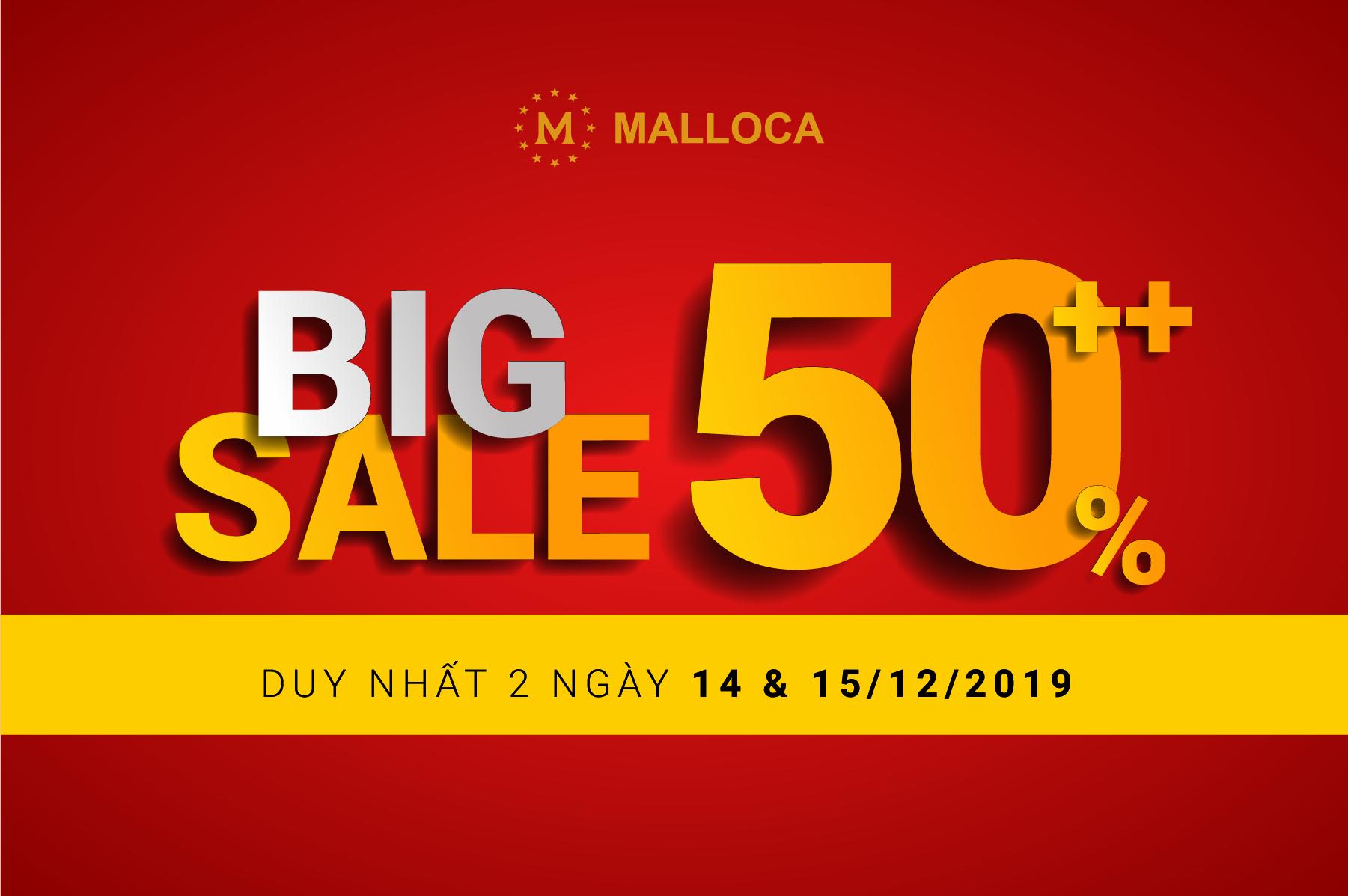 Malloca giảm giá big sale lên đến 50% tháng 12.2019