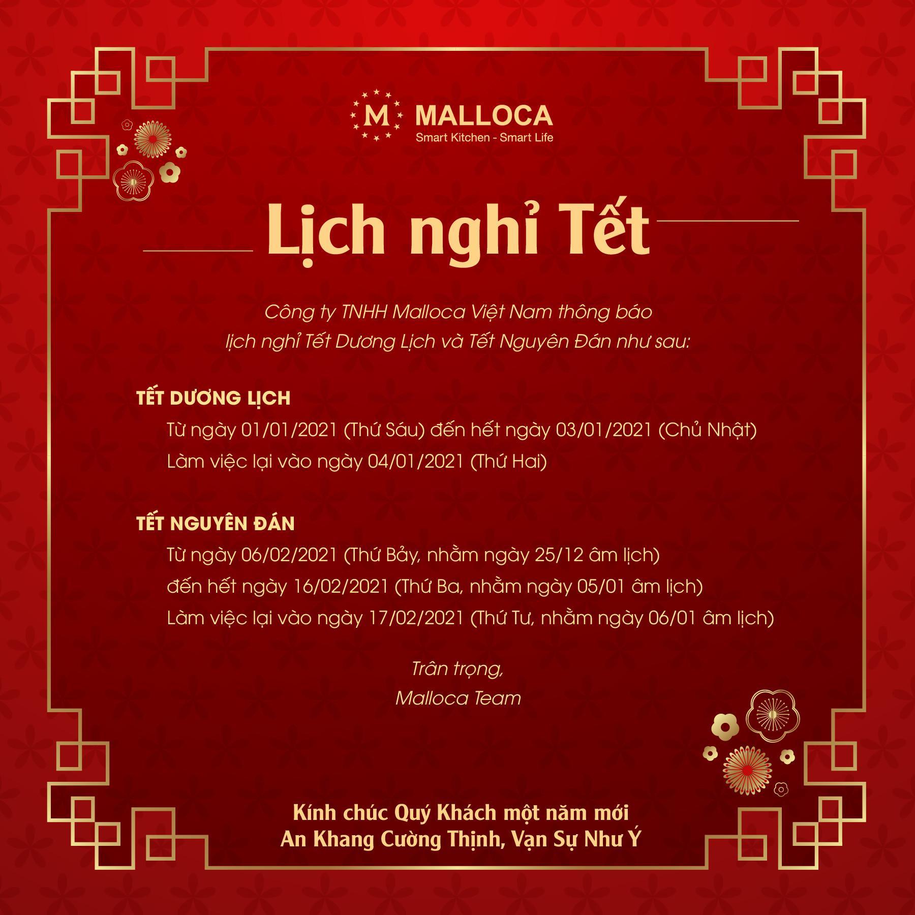 Malloca thông báo lịch nghỉ Tết 2021