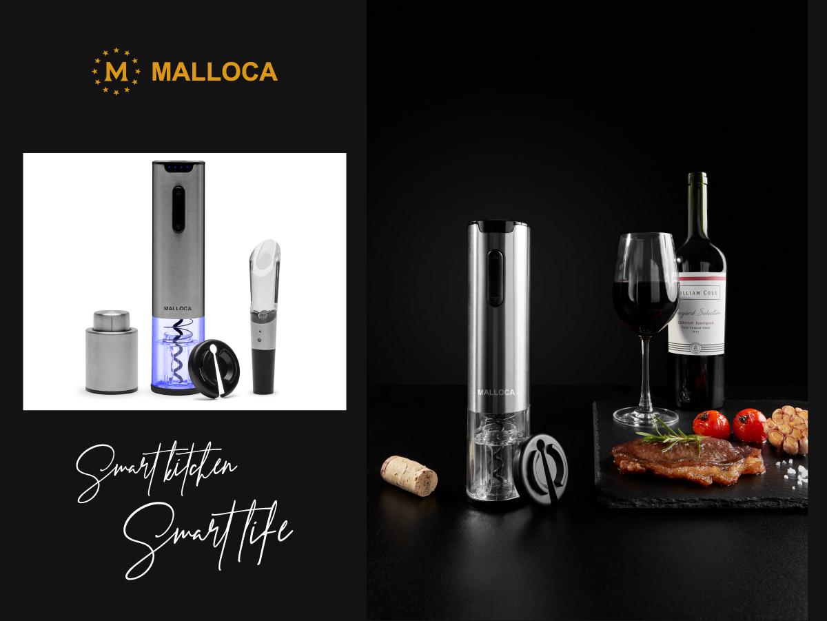 Bộ dụng cụ khui rượu vang cao cấp Malloca 5 món