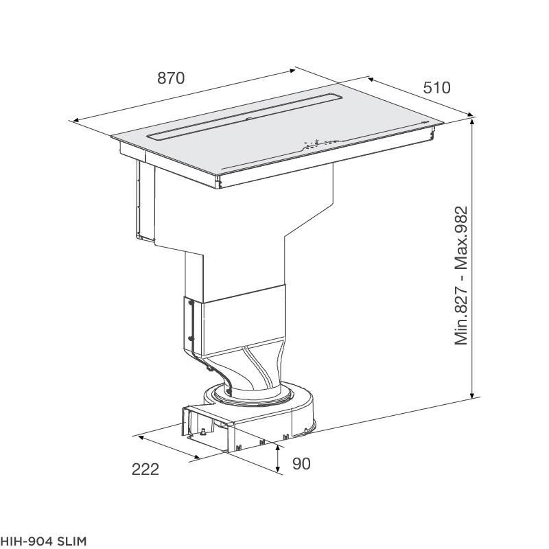 Bếp từ kết hợp máy hút khói khử mùi HIH-904 SLIM