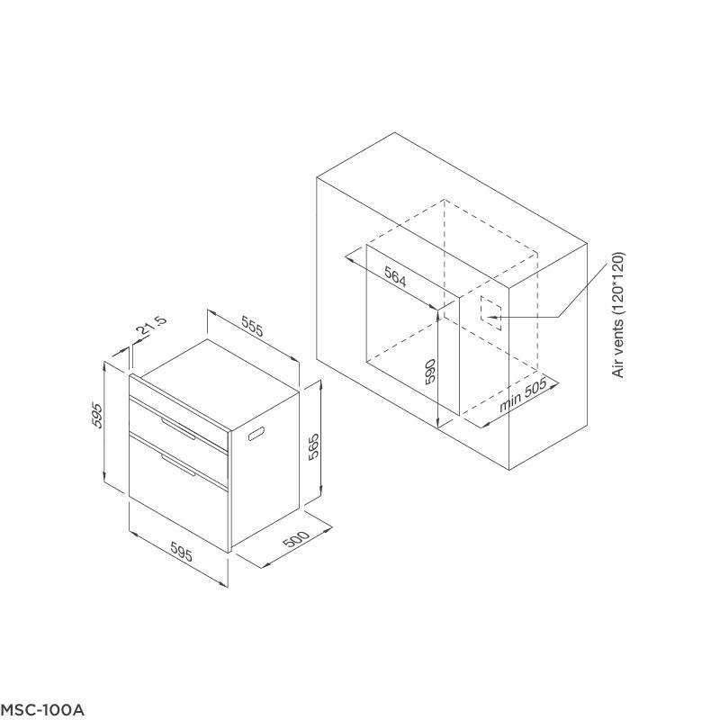 Máy sấy chén dĩa âm tủ MSC-100A