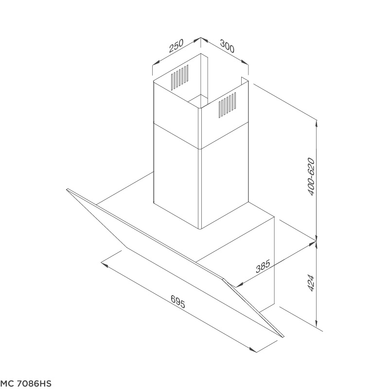 Máy hút khói khử mùi – áp tường dạng nghiêng MC 7086HS