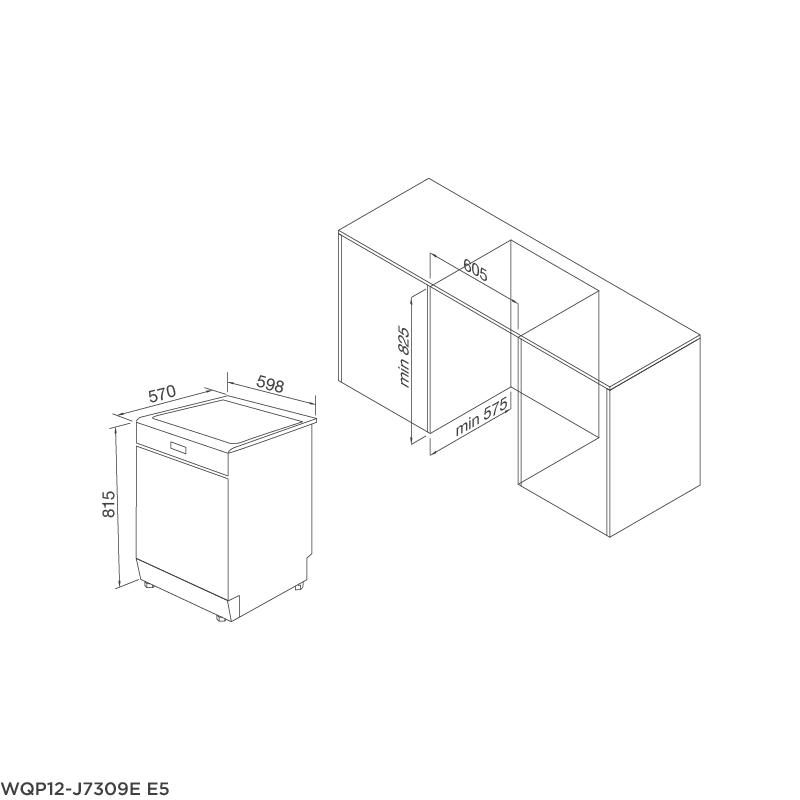 Máy rửa chén âm tủ WQP12-J7309E E5