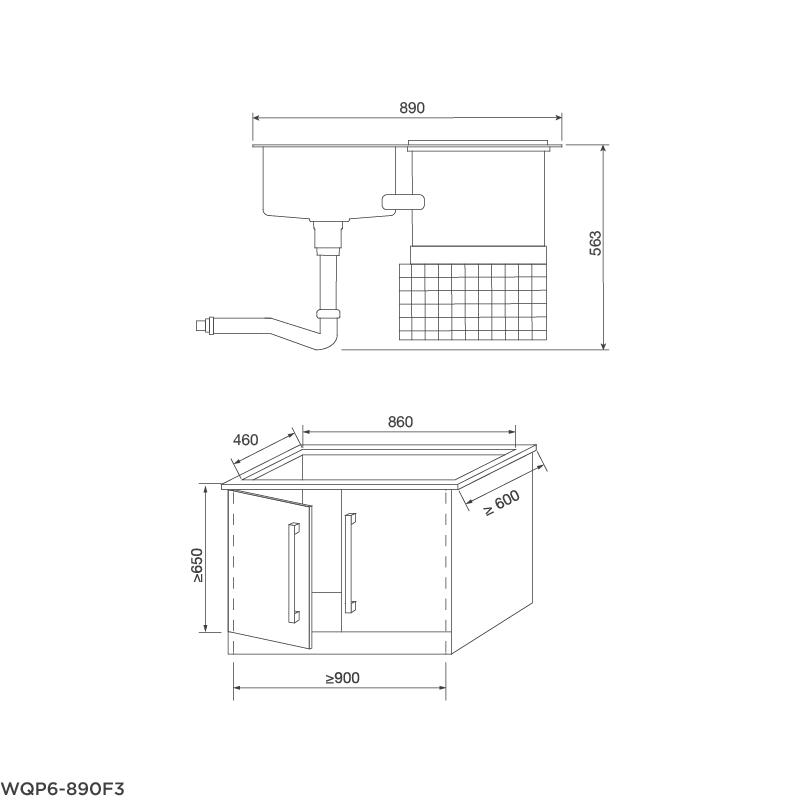 Máy rửa chén tích hợp WQP6-890F3