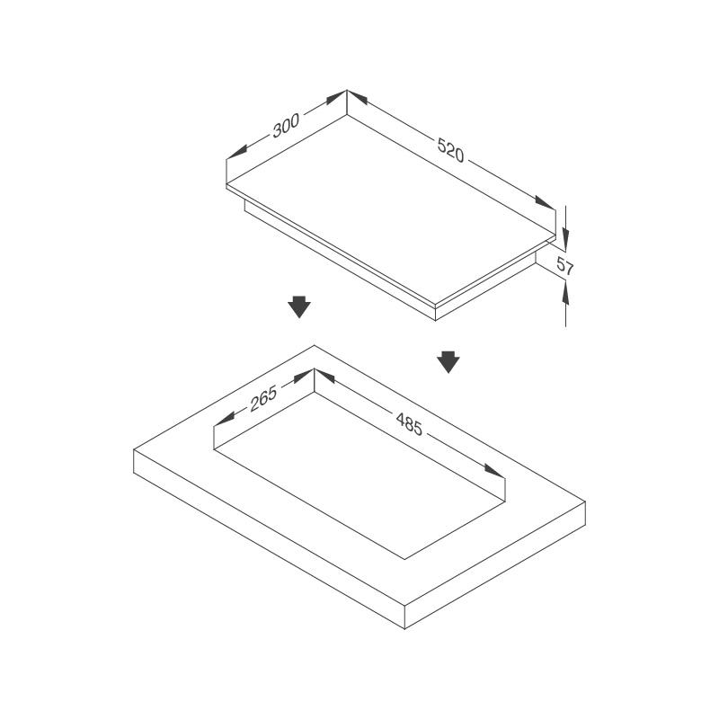 Bếp kính âm 2 điện dạng domino Mã số : MDH-02R