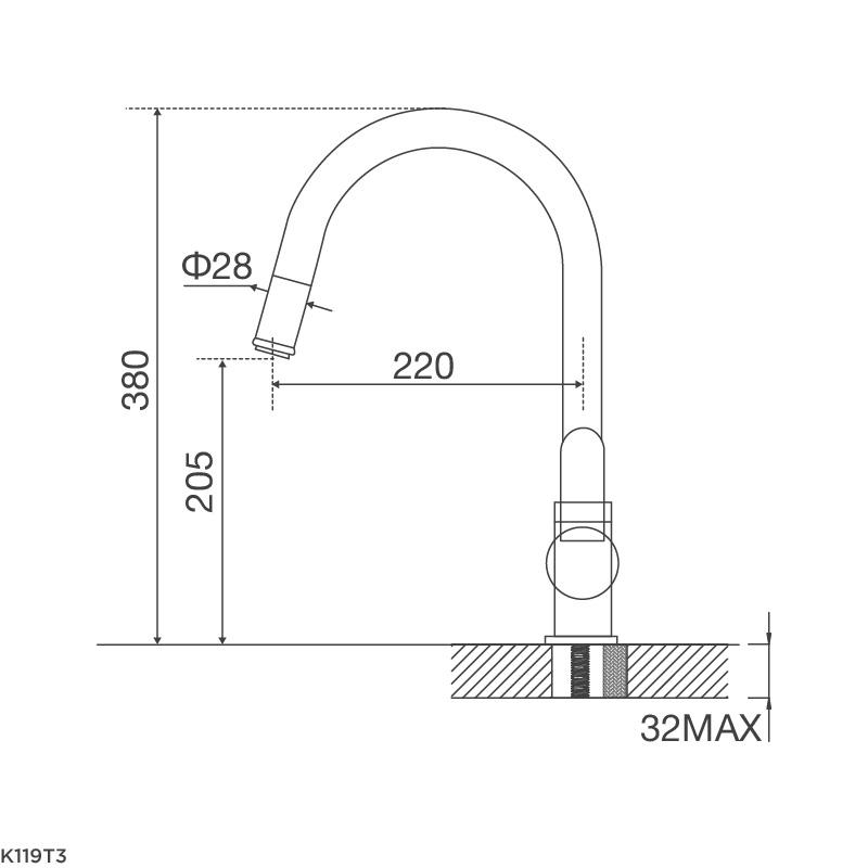 Vòi chậu rửa chén K119T3