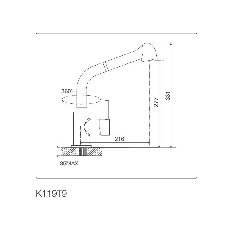 Vòi chậu rửa chén K119T9