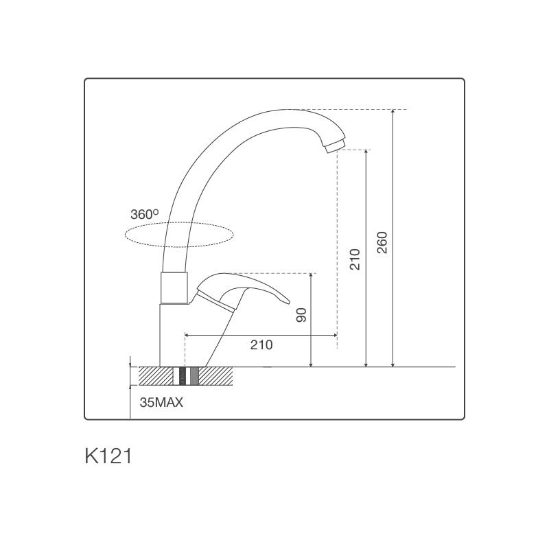 Vòi chậu rửa chén K121
