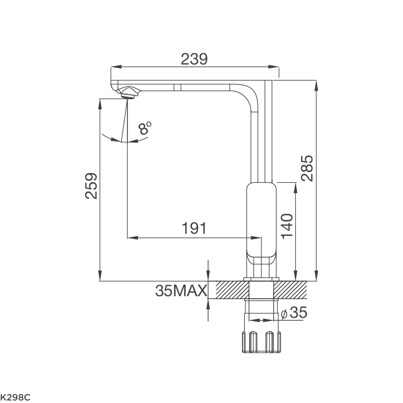 Vòi chậu rửa chén K298C