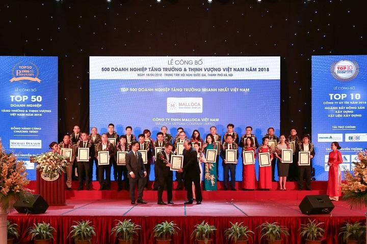 Malloca Việt Nam vinh dự nhận giải thưởng Top 500 DN tăng trưởng nhanh nhất VN 2018